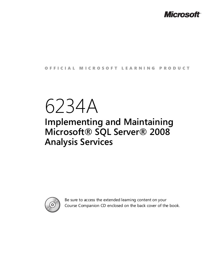 Implementing and Maintaining Microsoft SQL Server 2008 Analysis Services Course - 6234 course - mastergradeit cape town south afrcia
